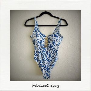 Blue and White One Piece Swimsuit NWOT